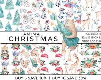 animal christmas,digital paper pack,watercolour,watercolor,scrapbooking paper,scrapbook,xmas paper pack,cute,digital scrapbooking,printable,