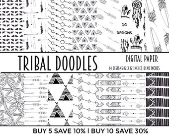 tribal, digital paper, digital papers, monochrome, pattern, digital paper pack, collage sheet, scrapbook, scrapbooking, paper,