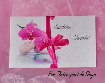Wedding brochure invitation rectangle zen fuchsia Orchid