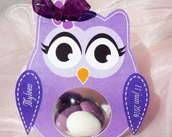 Box dragees purple OWL for baptism