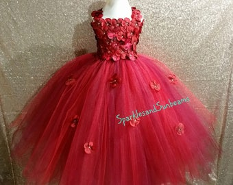 Red&Wine hydrangea dress/Burgundy Flower girl dress (FULL LINING,Aqua,white,ivory,burgundy,royal blue,lavender,yellow many colors available)