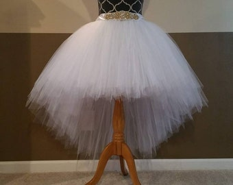 6cf96bfa49 Bridal Hi-Lo tutu (Sew In LINING with SILVER Rhinestone belt)/ High- low  bridal tulle skirt/ (33 colors available)