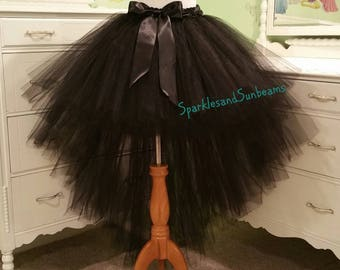 HI-LO tutu skirt**/ Fully LINED Black children to adult Tutu/ High-low Adult tutu (33 colors available)