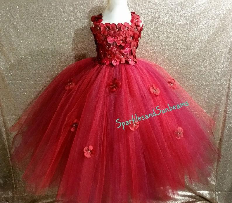 c56a898c186 Red Wine hydrangea dress Burgundy Flower girl dress FULL