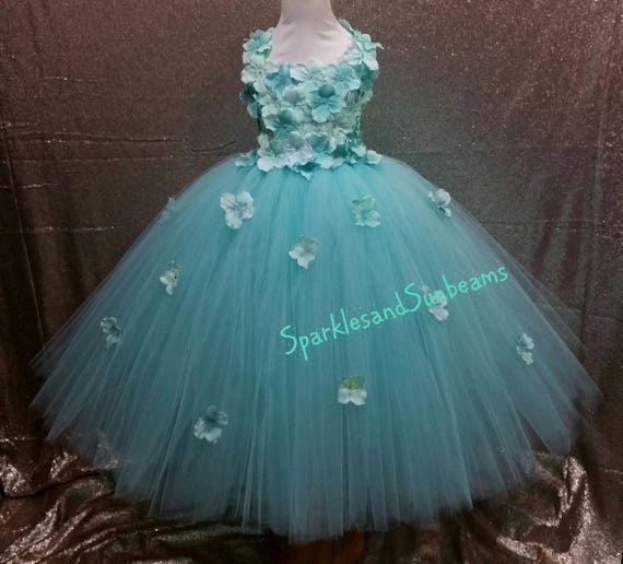Aqua hydrangea flower tutu dress Flower girl dressParty dress(Aqua,white,ivory,burgundy,royal blue,lavender,yellow many colors available)