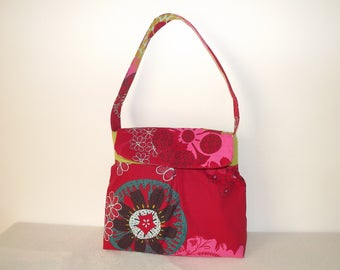 Blue and green tone/fuchsia/red fabric shoulder bag