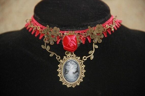 Chocker Skull bird laces Lolita Gothic Victorian blue