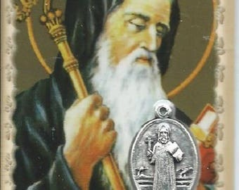 Laminated medal Holy St. Benedict 8.5 cm x 5.4 cm picture card
