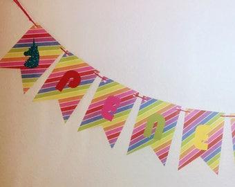 Rainbow - Unicorn paper banner
