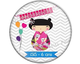 Magnet personalized 57mm for birthday, baptism etc... model Kokeshi