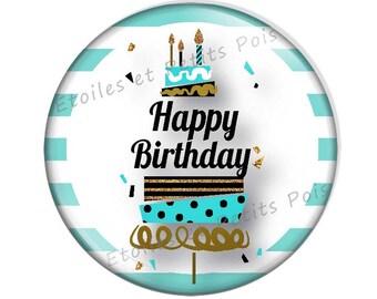 "Customizable birthday 57mm magnet pattern ""Happy Birthday"""