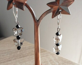2 gray transparent butterfly earrings