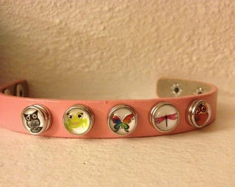PINK LEATHER BRACELET WITH SNAP BUTTONS