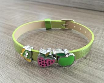 Adjustable green leather charm bracelet