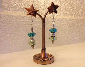 Trio of iridescent beads earrings