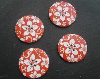 button 50mm red and white wood