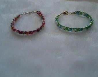 Pearl bracelet multicolor waxed cord