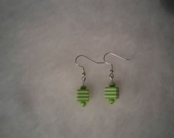 green white stripe cube earrings