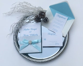 Invitation Suite Silver and Blue // Snowflake Wedding Invitation // Baby Blue Invitation // Winter Invitation