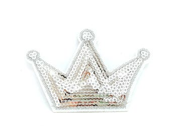 Crown silver sequins patch / badge fusible Princess Crown fairy tale girls / applied sequins silver sequins