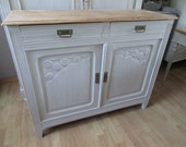 Old wood bottom buffet painted light grey patinated 2 doors, 2 drawers