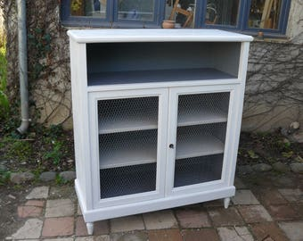 Vintage painted ecru patina, a doghouse and 2 doors Cabinet