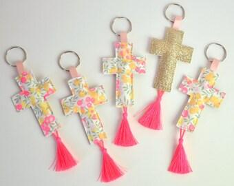 lot of 5 keyrings glittery glitter yade den Liberty and neon pink pompom