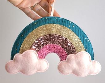 rainbow glitter decoration to hang