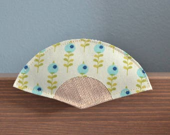 brooch in seafoam green fabric Japanese fan