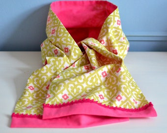 light scarf for spring in pink and green cotton