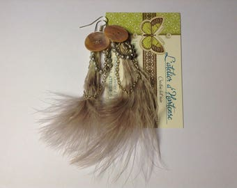 Earrings feather and Pearl Pink