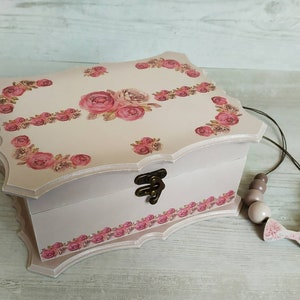 Gift For Her Memories Box Decorative Jewelry Box Wooden Jewelry Chest Home Decor Decoupage Keepsake Box With Hydrangea Motif
