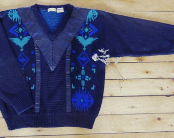 Vintage Cacharel with leather yoke sweater