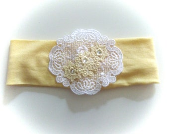Newborn headband yellow and white