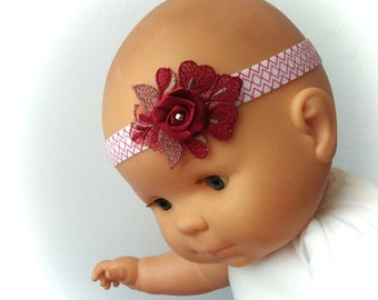 Pink satin and lace red and Burgundy headband