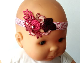 Headband lace red and Burgundy