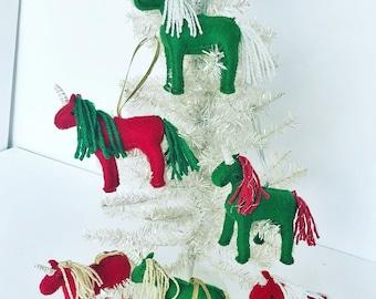 Hand stitched felt unicorn Christmas ornaments