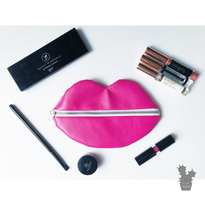Stocking Stuffer Gift For Her Bridesmaid Gift Idea Makeup Lover Gift Coin Purse Lipstick Holder Lip Makeup Bag Pleather Lip Shaped Bag
