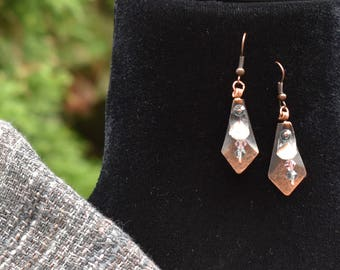 Copper and Pinecone Petal Earrings