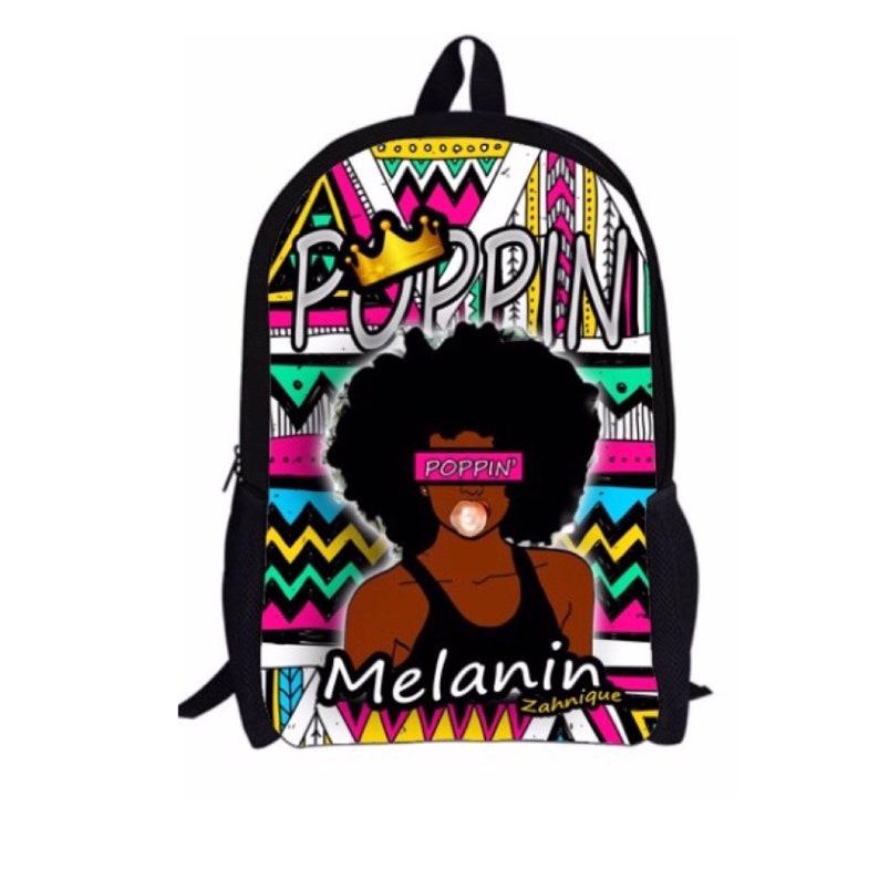 Melanin Poppin Black Girl Magic Custom Backpack with Custom  e3bcf14cb4150
