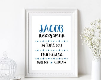 New born/New baby/Birth announcement/Nursery/Christening/Baptism Print