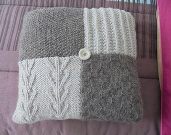 Knitted square cushion with 40 x 40 cm dark grey and light grey