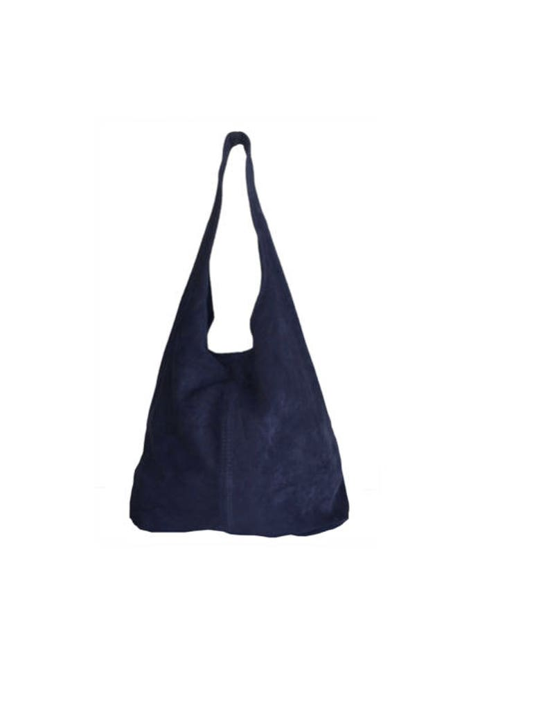 Women s suede leather tote bag Navy Blue  a97c79a2e2