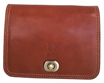 Vintage women Cognac leather shoulder bag