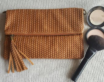 Clutch and shoulder bag leather effect braided for women