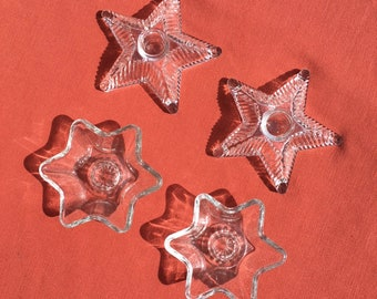 Vintage Glass Star Candle Holders, 1950 Atomic Star and