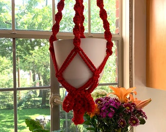 Vintage Red Macramé Plant Hanger with White Speckled Beads