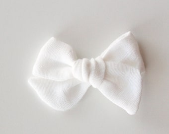 White Gauze Bow--White Bow--Gauze Bow--Clip or Nylon Headband 02cd9998000