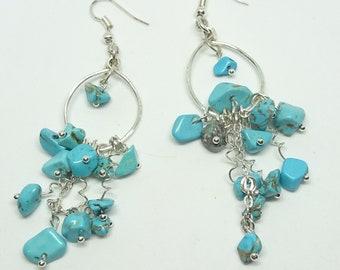 Turquoise Stone Chip Gemstone Earrings, Dangle Earrings, Turquoise Earrings, Semi Precious Stones, Memory Wire, Stone chip, Boho, beaded