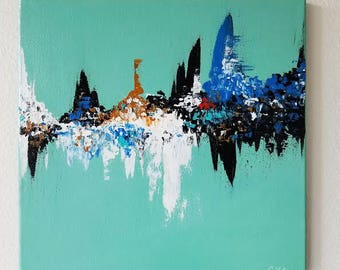 Turquoise Modern Abstract Acrylic Painting